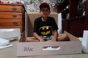 Elijah in the iMac box